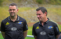 Hurricanes chief executive Avan Lee (left) looks on as Jason Holland is announced as new Hurricanes Super Rugby head coach at Rugby League Park in Wellington, New Zealand on Thursday, 19 december 2019. Photo: Dave Lintott / lintottphoto.co.nz