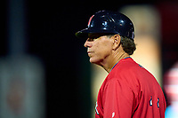 Worcester Red Sox coach Bruce Crabbe (11) during a game against the Rochester Red Wings on September 3, 2021 at Frontier Field in Rochester, New York.  (Mike Janes/Four Seam Images)