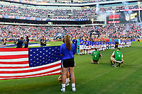 PHILADELPHIA, PA - AUGUST 29: United States national anthem prior to a game between Portugal and USWNT at Lincoln Financial Field on August 29, 2019 in Philadelphia, PA.
