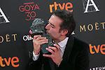 Daniel Guzman poses with Best Novel Director Goya award during 30th Goya Awards ceremony in Madrid, Spain. February 06, 2016. (ALTERPHOTOS/Victor Blanco)