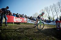 Sophie de Boer (NLD) descending the tricky Koppenberg<br /> <br /> Koppenbergcross 2014