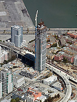 aerial photograph One Rincon Hill residential skyscraper construction San Francisco