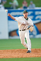 Greensboro shortstop Daniel Garcia (17) makes a throw to first base versus Kannapolis at First Horizon Park in Greensboro, NC, Sunday, May 27, 2007.  The Intimidators defeated the Grasshoppers 6-5.