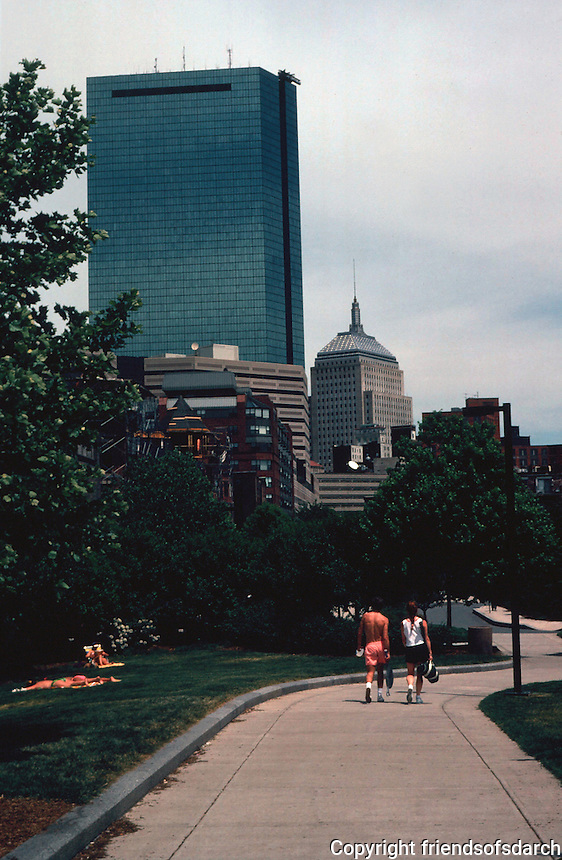 Boston:  Back Bay--Southwest Corridor Park, looking South from Newton.  Photo '91.