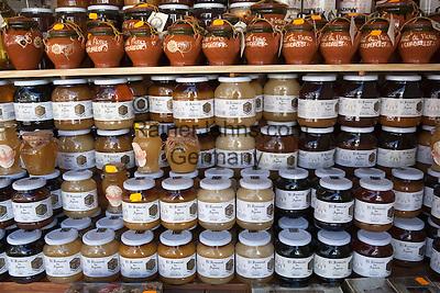 Spain, Province Alicante, El Castell de Guadalest: Jars of local honey | Spanien, Provinz Alicante, El Castell de Guadalest: heimischer Honig im Angebot