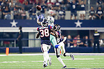 Houston Texans defensive back Terrance Mitchell (38) and Dallas Cowboys wide receiver Andy Jones (81) in action during the pre-season game between the Houston Texans and the Dallas Cowboys at the AT & T stadium in Arlington, Texas.