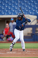 AZL Brewers Blue Jackie Urbaez (8) at bat during an Arizona League game against the AZL Rangers on July 11, 2019 at American Family Fields of Phoenix in Phoenix, Arizona. The AZL Rangers defeated the AZL Brewers Blue 5-2. (Zachary Lucy/Four Seam Images)