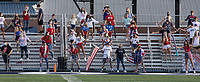 The Greenwood High School student section practices social distancing during Friday's football game against Springdale Har-Ber. Many students dressed in patriotic colors since the game was played on 9/11.