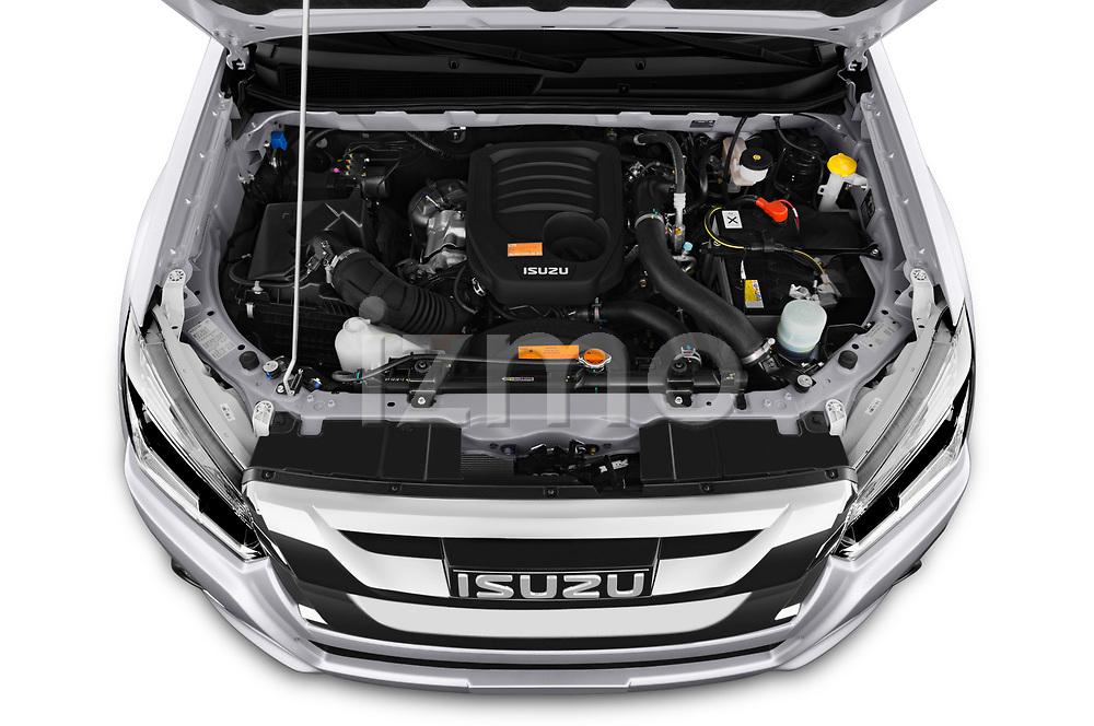 Car Stock 2019 Isuzu D-Max LSX-4wd-crew-cab 5 Door Pick-up Engine  high angle detail view