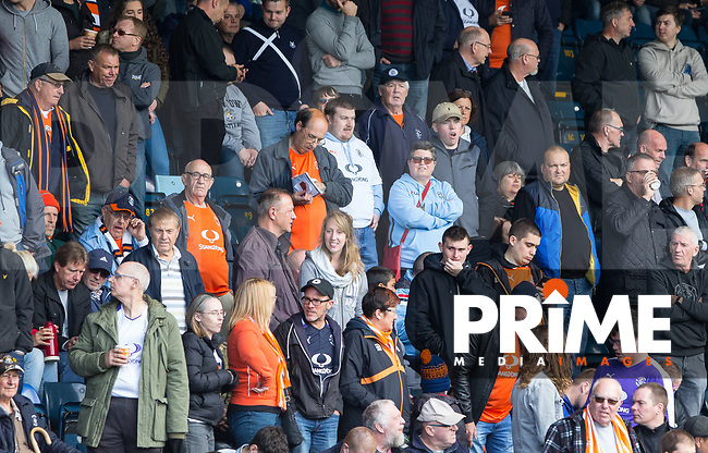 Luton Town supporters during the Sky Bet League 2 match between Wycombe Wanderers and Luton Town at Adams Park, High Wycombe, England on 16 September 2017. Photo by Kevin Prescod.