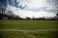 LOUISVILLE, KY - MARCH 13: Players on the pitch during a game between West Virginia University and Racing Louisville FC at Thurman Hutchins Park on March 13, 2021 in Louisville, Kentucky.