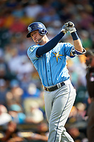 Tampa Bay Rays third baseman Jake Hager (69) takes a practice swing bat during a Spring Training game against the Pittsburgh Pirates on March 10, 2017 at LECOM Park in Bradenton, Florida.  Pittsburgh defeated New York 4-1.  (Mike Janes/Four Seam Images)
