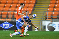 Blackpool's Nathan Shaw battles with Barrow's Morgan Penfold<br /> <br /> Photographer Dave Howarth/CameraSport<br /> <br /> EFL Trophy Northern Section Group G - Blackpool v Barrow - Tuesday 8th September 2020 - Bloomfield Road - Blackpool<br />  <br /> World Copyright © 2020 CameraSport. All rights reserved. 43 Linden Ave. Countesthorpe. Leicester. England. LE8 5PG - Tel: +44 (0) 116 277 4147 - admin@camerasport.com - www.camerasport.com