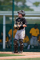 Pittsburgh Pirates catcher Jason Delay (16) during an Instructional League intrasquad black and gold game on September 28, 2017 at Pirate City in Bradenton, Florida.  (Mike Janes/Four Seam Images)