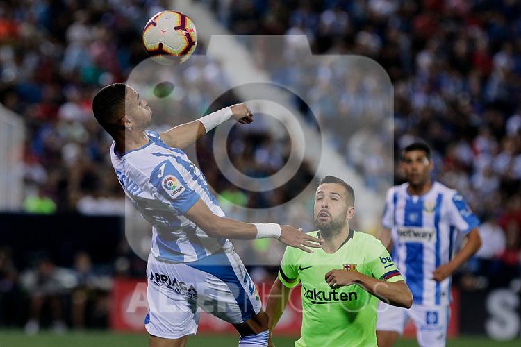 CD Leganes's Youssef En-Nesyri and FC Barcelona's Jordi Alba during La Liga match between CD Leganes and FC Barcelona at Butarque Stadium in Madrid, Spain. September 26, 2018. (ALTERPHOTOS/A. Perez Meca)