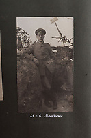 BNPS.co.uk (01202 558833)<br /> Pic: C&TAuctions/BNPS<br /> <br /> Pictured: A German solidier casually poses for a picture in the trench with a cigarette in his hand. <br /> <br /> Fascinating previously unseen World War One photos showing the conflict from the German perspective have come to light 103 years on.<br /> <br /> Major Hans Rudloff, a distinguished artillery officer, took hundreds of images of some of the major Western Front battles.<br /> <br /> There are scenes of destruction on the Verdun and at Cambrai, as well as snapshots of captured British soldiers on the Somme in the early days of the German Spring Offensive in March 1918.