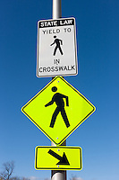 Signs indicating a crosswalk in White Plains, New York
