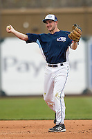 West Michigan Whitecaps second baseman Will Maddox (11) makes a throw to first base against the Dayton Dragons on April 24, 2016 at Fifth Third Ballpark in Comstock, Michigan. Dayton defeated West Michigan 4-3. (Andrew Woolley/Four Seam Images)