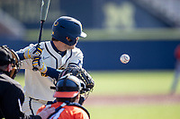 Michigan Wolverines first baseman Jimmy Obertop (8) at the plate during the NCAA baseball game against the Illinois Fighting Illini at Fisher Stadium on March 19, 2021 in Ann Arbor, Michigan. Illinois won the game 7-4. (Andrew Woolley/Four Seam Images)