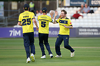 Liam Dawson of Hampshire celebrates taking the wicket of Michael Pepper during Essex Eagles vs Hampshire Hawks, Vitality Blast T20 Cricket at The Cloudfm County Ground on 11th June 2021