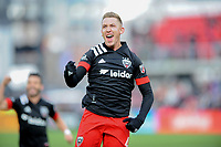 WASHINGTON, DC - FEBRUARY 29: Washington, D.C. - February 29, 2020: Russell Canouse #4 of D.C. United celebrating his score. The Colorado Rapids defeated D.C. Untied 2-1 during their Major League Soccer (MLS)  match at Audi Field during a game between Colorado Rapids and D.C. United at Audi Field on February 29, 2020 in Washington, DC.