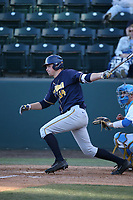 Max Flower (34) of the California Bears bats against the UCLA Bruins at Jackie Robinson Stadium on March 25, 2017 in Los Angeles, California. UCLA defeated California, 9-4. (Larry Goren/Four Seam Images)