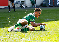 24th April 2021; Brentford Community Stadium, London, England; Gallagher Premiership Rugby, London Irish versus Harlequins; Ben Loader of London Irish goes over the line to score a try