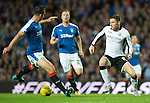 Rangers v St Johnstone...22.09.15  Scottish League Cup Round 3, Ibrox Stadium<br /> Michael O'Halloran takes on Lee Wallace<br /> Picture by Graeme Hart.<br /> Copyright Perthshire Picture Agency<br /> Tel: 01738 623350  Mobile: 07990 594431