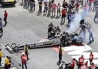 Apr. 7, 2013; Las Vegas, NV, USA: NHRA crew members for top fuel dragster driver Brittany Force during the Summitracing.com Nationals at the Strip at Las Vegas Motor Speedway. Mandatory Credit: Mark J. Rebilas-