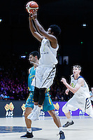 July 14, 2016: TRA HOLDER (6) of the Arizona State Sun Devils takes a jump shot during game 2 of the Australian Boomers Farewell Series between the Australian Boomers and the American PAC-12 All-Stars at Hisense Arena in Melbourne, Australia. Sydney Low/AsteriskImages.com