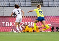 TOKYO, JAPAN - JULY 21: Alyssa Naeher #1 of the USWNT during a game between Sweden and USWNT at Tokyo Stadium on July 21, 2021 in Tokyo, Japan.