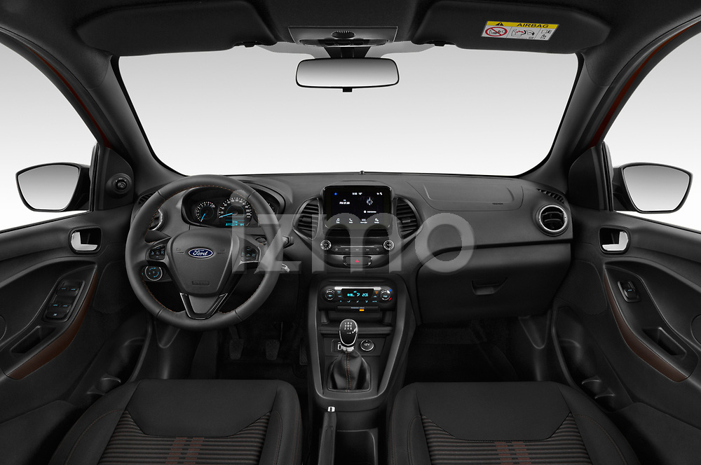 Stock photo of straight dashboard view of a 2019 Ford KA + Active 5 Door Hatchback