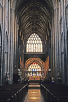 Bristol: St. Mary Redcliffe--Nave. Looking towards altar with chapel beyond. Photo '90.