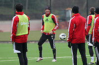 Pictured: Michu in training<br /> Swansea City Football Training, Swansea, 07/03/13