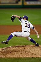 LSU Tigers pitcher Nick Rumbelow #38 delivers against the Mississippi State Bulldogs during the NCAA baseball game on March 16, 2012 at Alex Box Stadium in Baton Rouge, Louisiana. LSU defeated Mississippi State 3-2 in 10 innings. (Andrew Woolley / Four Seam Images)