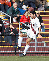 Virginia Tech forward Kai Marshall (7) collects a pass. Boston College (maroon) defeated Virginia Tech (Virginia Polytechnic Institute and State University) (white), 3-1, at Newton Campus Field, on November 3, 2013.