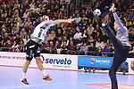 VELUX EHF 2019/20 EHF Men's Champions League Group Phase - Round 8.<br /> FC Barcelona vs Aalborg Handbold: 44-35.<br /> Janus Dadi Smarason vs Kevin Moller.