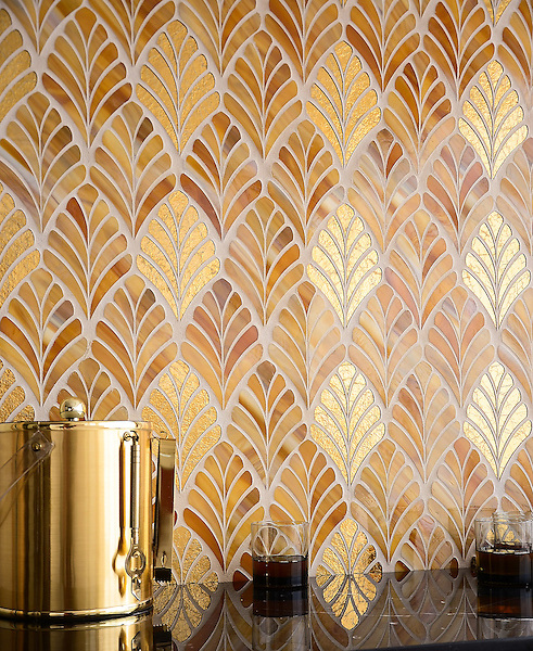 Margot, a handmade mosaic shown in Tiger's Eye Jewel Glass and 24K Gold Glass, is part of the Aurora® collection by New Ravenna.