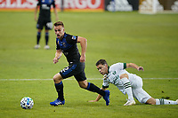 SAN JOSE, CA - SEPTEMBER 16: Tommy Thompson #22 of the San Jose Earthquakes during a game between Portland Timbers and San Jose Earthquakes at Earthquakes Stadium on September 16, 2020 in San Jose, California.