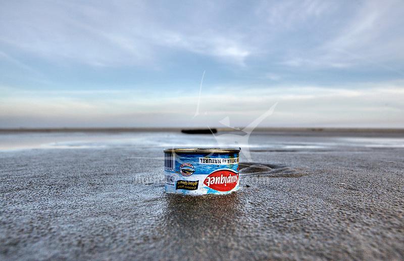 Coastline pollution at Napoleon Beach , Port-Saint-Louis du Rhone, Bouches-du-RhÙne, France.