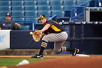 Bradenton Marauders first baseman Jerrick Suiter (25) stretches for a throw during a game against the Tampa Yankees on April 11, 2016 at George M. Steinbrenner Field in Tampa, Florida.  Tampa defeated Bradenton 5-2.  (Mike Janes/Four Seam Images)