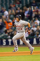 Detroit Tigers third baseman Miguel Cabrera (24) sprints to second base after hitting a double in fourth inning of the MLB baseball game against the Houston Astros on May 3, 2013 at Minute Maid Park in Houston, Texas. Detroit defeated Houston 4-3. (Andrew Woolley/Four Seam Images).