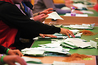 Pictured: Counters are going through ballots. Friday 09 June 2017<br /> Re: Counting of ballots at Brangwyn Hall for the general election in Swansea, Wales, UK