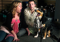 Ishah the dog 'sings' into a microphone.  He was given a part in a television show after a Norwegan casting company decided to feature his unusual talent.