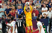 NASHVILLE, TN - SEPTEMBER 5: Matt Turner #1 GK of the United States reaches high for a ball during a game between Canada and USMNT at Nissan Stadium on September 5, 2021 in Nashville, Tennessee.