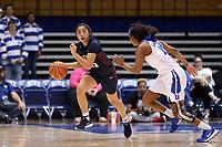 DURHAM, NC - NOVEMBER 29: Kayla Padilla #45 of the University of Pennsylvania brings the ball up the court during a game between Penn and Duke at Cameron Indoor Stadium on November 29, 2019 in Durham, North Carolina.