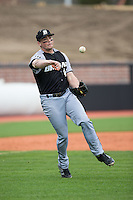 John Mullen (42) of the Bryant Bulldogs takes infield practice prior to the game against the Coastal Carolina Chanticleers at Springs Brooks Stadium on March 13, 2015 in Charlotte, North Carolina.  The Chanticleers defeated the Bulldogs 7-2.  (Brian Westerholt/Four Seam Images)