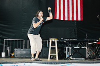A speaker from Occupy Monsanto addresses a small audience in the protest area in FDR Park outside of the secure area surrounding the Democratic National Convention at the Wells Fargo Center in Philadelphia, Pennsylvania, on Wed., July 27, 2016.