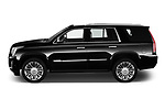 Car Driver side profile view of a 2019 Cadillac Escalade Platinum 5 Door SUV Side View