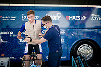 Remco Evenepoel (BEL/Deceuninck-QuickStep) getting suited with an ice-vest while warming up for the iTT<br /> <br /> 91st Baloise Belgium Tour 2021 (BEL/2.Pro)<br /> Stage 2 (ITT) from Knokke-Heist to Knokke-Heist (11.2km)<br /> <br /> ©kramon